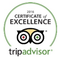 Trip Advisor Certificate of Excellence 2016 to Table Mountain Walks
